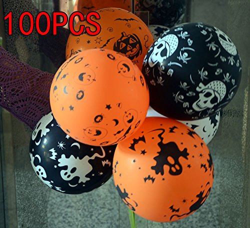 Halloween Decorations Balloon 100PCS 12 inches Latex 320 Gram Thick Balloons 5 types For Halloween Party Haning Backdrop Decorations Bar Mall Props Pack Of 100PCS