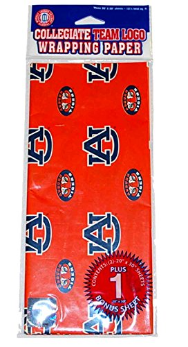 Pro Specialties Group Auburn Tigers Team Logo Gift Wrapping Paper 3 Sheets - Paper Auburn Tigers