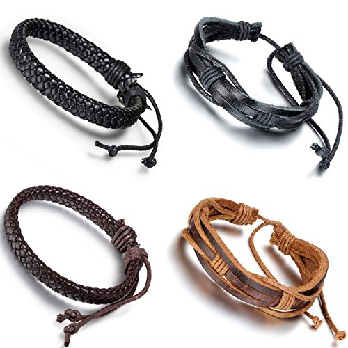 Aroncent 4PCS Handmade Vintage Wristband, Leather Rope Bracelet, Tribal Braided Cuff Bangle, Adjustable