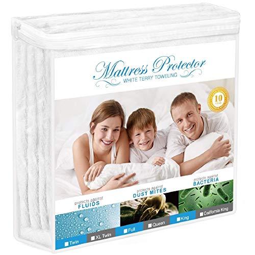 Adoric Mattress Protector, Queen Size Waterproof Mattress Protector, Premium Hypoallergenic Mattress Cover Cotton Terry Surface-Vinyl Free