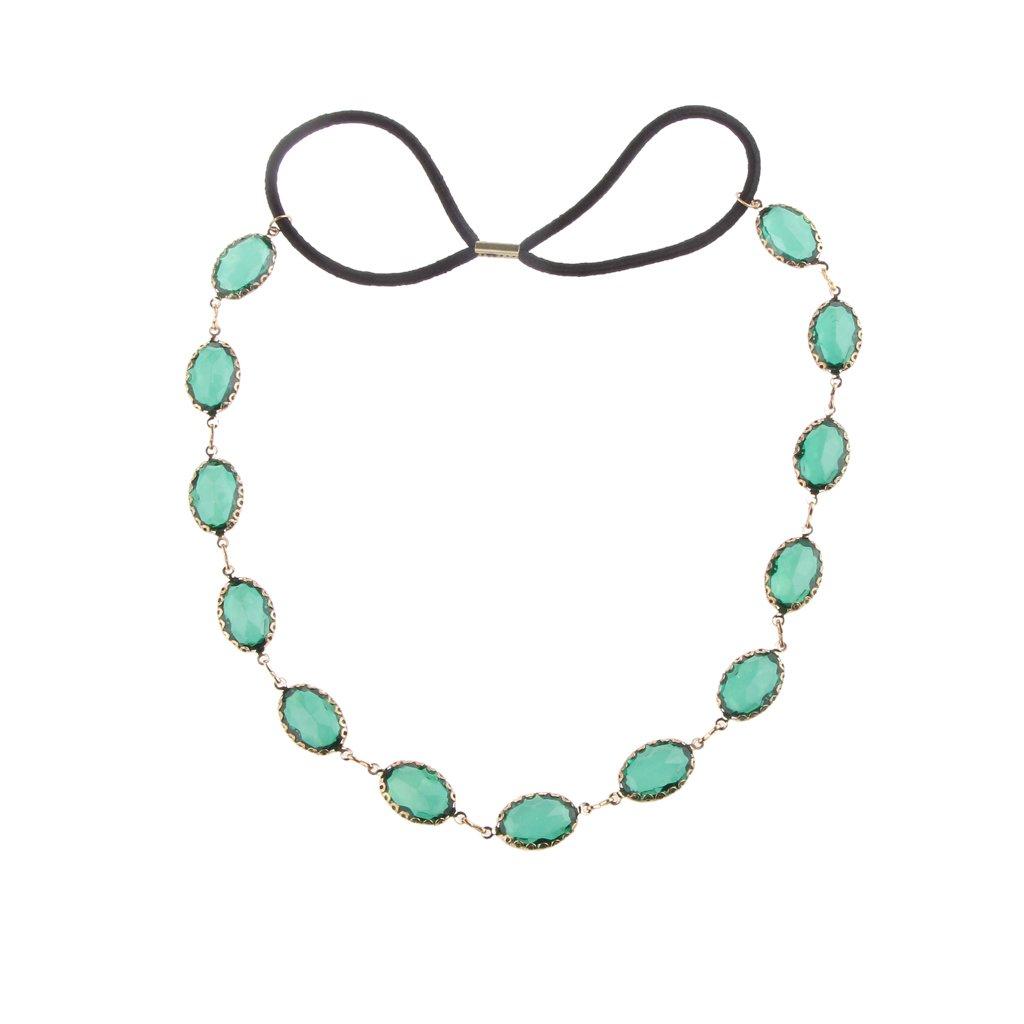 Generic Women Hair Accessories Ellipse Acrylic Gemstone Elastic Hair Hoop Headband