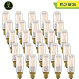 Perlite Lighting (Pack of 25) 25T6/SQ/E12/120 25-Watt T6 Clear Thread Candelabra E12 Base 120-Volt Light Bulb