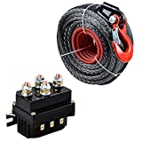 """Astra Depot Black 92ft x 1/2"""" Synthetic Winch Rope Cable Protection w/RED Winch Hook & 12V 500A Winch Solenoid Relay for 8000lbs-12000lbs ATV UTV 4x4 Winches Replacement"""