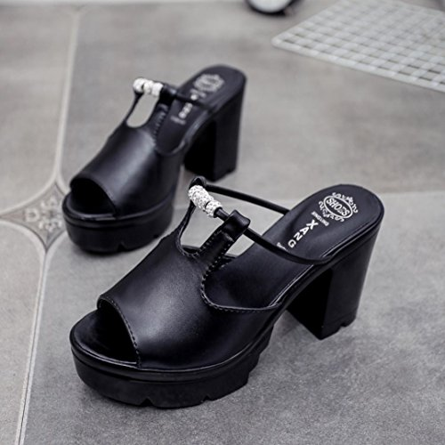 Inkach Femmes Plate-forme Sandales - Mode Sandales Dété Talons Chunky Pantoufles Compensées Chaussures Flip-flops Noir