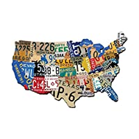"Past Time Signs (PS197) License Plate USA Map Die-Cut Steel Sign 19"" x 13"""