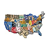 vintage automotive signs - Past Time Signs (PS197) License Plate USA Map Die-Cut Steel Sign 19