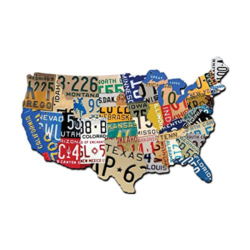 "Past Time Signs (PS197) License Plate USA Map Die-Cut Steel Sign 19"" x 13"" from Past Time Signs"