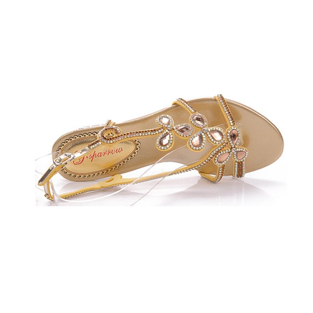 QPYC Frauen-flache Ferse-Sandelholze Rhinestone-Pailletten durchbrochene raue Ferse bördelte flache Mund-Wölbung Mund-Wölbung flache High Heels Frauen-Schuhe große Größe, gold, 43 - 94fc00