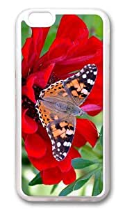 MOKSHOP Adorable Butterfly Red Flower Soft Case Protective Shell Cell Phone Cover For Apple Iphone 6 Plus (5.5 Inch) - TPU Transparent