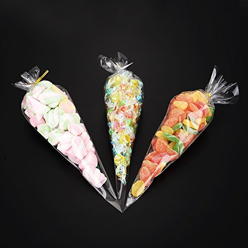 Favor Treat Bags (Cone Bag 100 PCS Cellophane Bags Clear Triangle Treat Bags with Twist Ties for Candies Handmade Cookies (100))