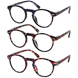 Reading Glasses 3 Pair Fashion Spring Hinge Marble Look Stylish Readers for Women +3