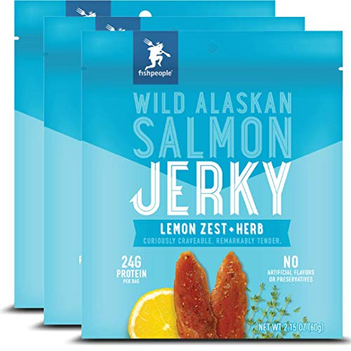 Fishpeople Wild Alaskan Salmon Jerky, Lemon Zest + Herb, 2.15 ounce (3 pack), 24g Protein and 900mg Omega-3s per bag, Gluten-free, Antibiotic-free, Non-GMO