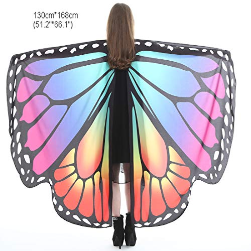Halloween Party Soft Fabric Butterfly Wings Shawl Fairy Ladies Nymph Pixie Costume Accessory (Rainbow -