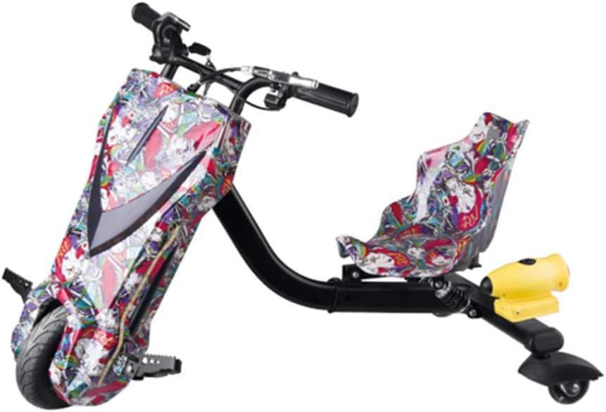 YIAIY Triciclo Eléctrico Drift, Juguete Eléctrico Kart Vespa De Los Niños Fresca 36V del Coche Eléctrico De 20 Km/H,Púrpura