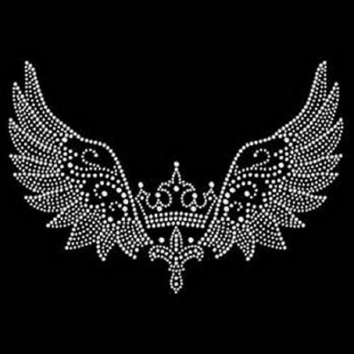 Fleur Wing - Fleur De Lis Crown with Wing Rhinestone Iron on Transfer