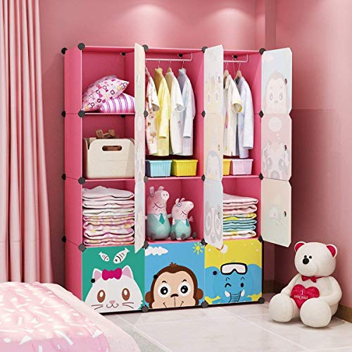 MAGINELS Magicial Panels Kids Dresser Portable Closet Wardrobe Children Bedroom Armoire Clothes Hanging Storage Rack Cube Organizer, Large & Study, Pink, 8 Cubes & 2 Hanging Sections