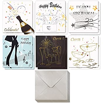 Birthday Card 12 Pack Cards Box Set Happy Assorted Musical Designs