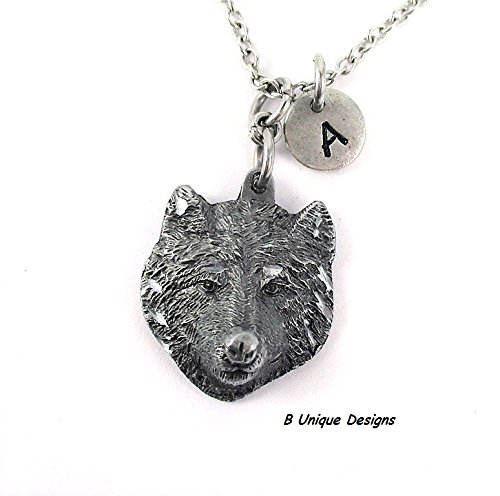 Wolf Pendant Necklace Personalized Initial Women's or Mens Jewelry Add Birthstone Crystal or Your Name