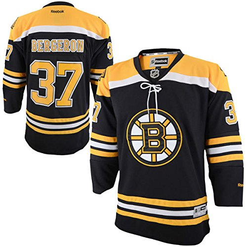 Reebok NHL Youth Boston Bruins Patrice Bergeron Premier Home Jersey #37 Hockey Sewn Letters & Numbers (Large/X-Large)