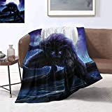 smllmoonDecor Fantasy World Warm Microfiber All Season Blanket Surreal Werewolf with Electric Eyes in Full Moon Transformation Folkloric Summer Quilt Comforter 60