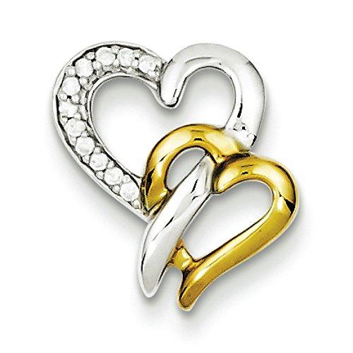 En argent Sterling et Vermeil Motif diamants bruts JewelryWeb-Pendentif Coeur
