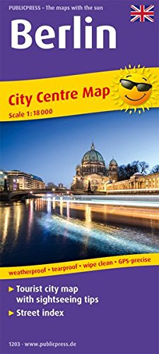 Berlin City Centre Map 1:18 000: Tourist City Centre map with sightseeing tips and Street index