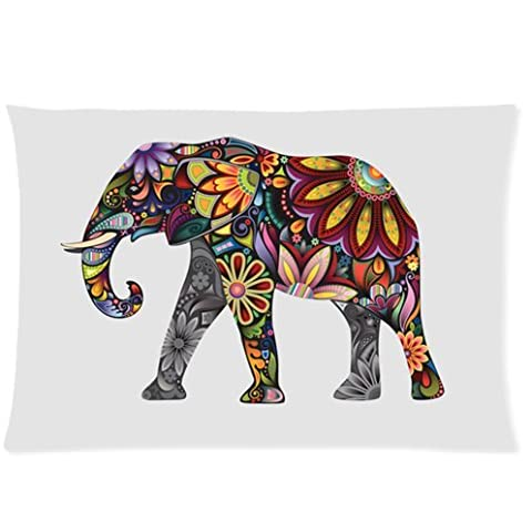 Custom Colorful Elephant Wild Animal Facial care/Skin Care 20x30 inch Twin Sides Zippered Pillowcase Pillow Cover standard