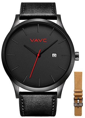 VAVC VAVC Men's Black Leather Band Causal Analog Dress Quartz Wrist Watch with Black Face and Simple Design