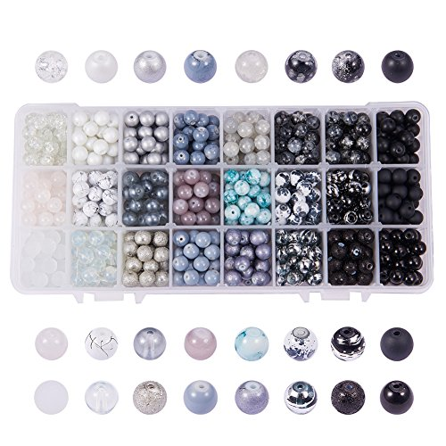 PH PandaHall 1 Box (About 720 pcs) 24 Color 8mm Round Mixed Style Glass Beads Assortment Lot for Jewelry Making, Gradual Earth Tone
