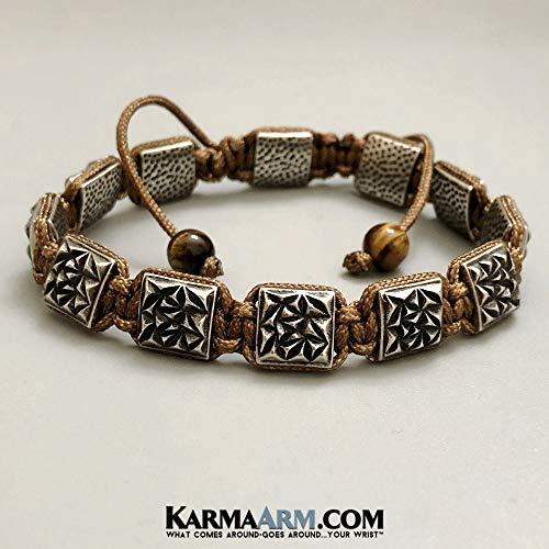 - FlatBead Collection: Textured Antique Silver | Bronze Cord | Adjustable ॐ Yoga Chakra Flat Bead Bracelet