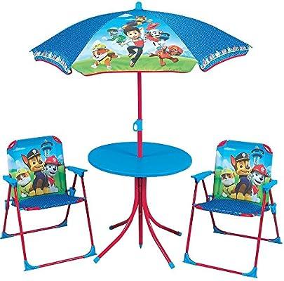 Mesa, sillas y sombrilla diseño de la Patrulla Canina: Amazon.es ...
