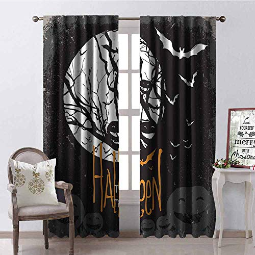 GloriaJohnson Vintage Halloween Heat Insulation Curtain Halloween Themed Image with Full Moon and Jack o Lanterns on a Tree for Living Room or Bedroom W42 x L84 Inch Black -