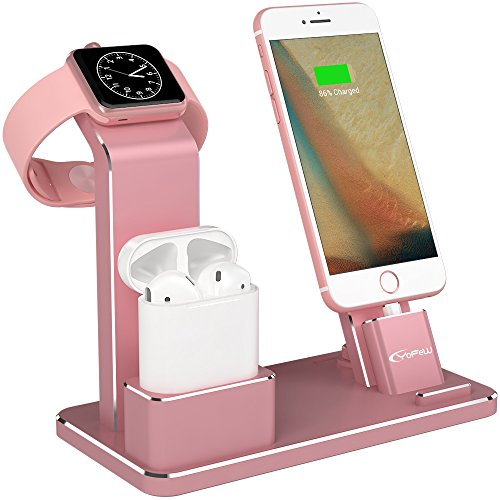 YoFeW Apple Watch Stand Aluminum 4 in 1 Apple Watch Charger Dock Accessories for AirPods Charging Docks Stand for Apple Watch Series 3/ 2/ 1/ AirPods/ iPhone 8/ 8 Plus/ 7/ 7 Plus /6s iPad Gold Rose (5s Edition Iphone Gold)
