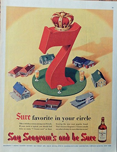 Seagram's 7 Crown Whiskey 50's print ad. vintage Color Illustration, in your circle, 1953 Collier's Magazine Art