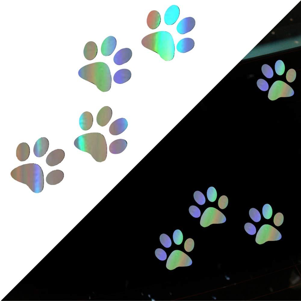 Lasamot Adesivi per Auto Carini Funnny Battito Cardiaco Gatto Stampa Zampa Cane Stampa Zampa Adesivi Impronta Creativa Adesivi Laser Panda