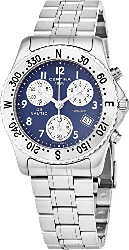 Certina DS Nautic Mens 38MM Blue Face with Date Luminous Watch - Swiss Made Analog Quartz Stainless Steel Chronograph Watch C542.7118.42.52