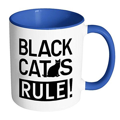 Black Cats Rule! | Funny Black Cat Lover White 11 oz Accent Coffee Mug in Different - Retro Ebay Sunglasses