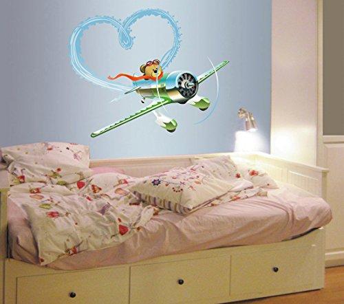 (StickersForLife cik622 Full Color Wall Decal Biplane Teddy Bear Heart Love cot Children Bedroom)