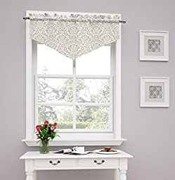 Traditions by Waverly Duncan Damask Window Valance, Sterling