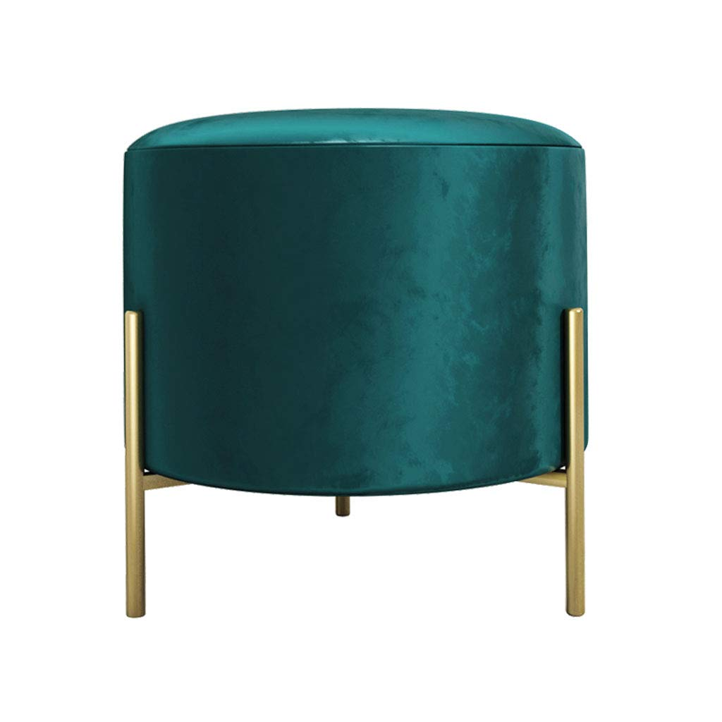 Modern Velvet Dressing Stool Ottoman Pouffe Upholstered Footstool Living Room Bedroom Change Shoes Tea Table Stools with Metal Legs Round Stool by SONGTING Ottomans