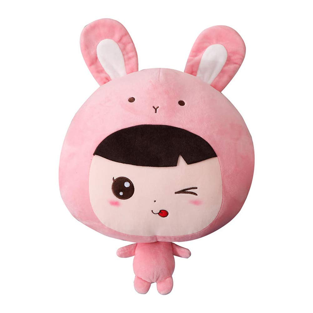 JLOSF 3 in 1 Plush Stuffed Pillow Blanket, Cute Cartoon Animal Toys Throw Sofa Blanket with Hand Warmer Design-Pink 110x160cm(43''x63'') by JLOSF