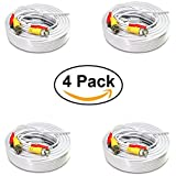 Best Cable For CCTV Surveillances - Pack of 4x 100ft White Premade BNC Video Review