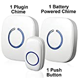 SadoTech Model CXRi Portable Wireless Door Bell Kit, Over 50 Chime Tones, over 500 ft Range [1 Remote Button, 1 Plug-In Chime & 1 Battery Powered Chime], (White)