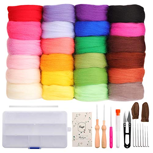 Fuyit Wool Roving 24 Colors Needle Felting Wool Set Felt Tools Needle Felting Starter Kit Wool Fibre Hand Spinning DIY Craft - Kit Wool