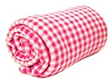 World's Best Cozy-Soft Microfleece Travel Blanket, 50 x 60 Inch, Gingham Pink, Great for Travel or Lounging at Home