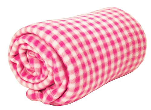 (World's Best 4320 PK Cozy-Soft Microfleece Travel Blanket, Gingham Pink, Pack of 1,)