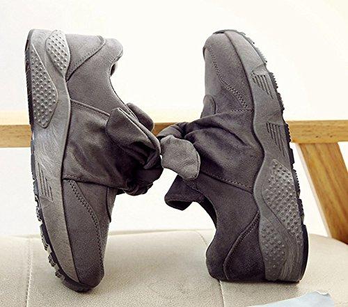 Talon Femme Gris Aisun Plat Mode Baskets Chic Noeud Sport tPf4Pq