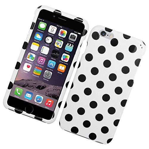 iPhone 6 Plus/6s Plus Case, Insten Polka Dots Rubberized Hard Snap-in Case Cover for Apple iPhone 6 Plus/6s Plus, White/Black