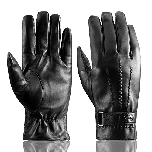 Men's Touchscreen Genuine Leather Driving Gloves, Warm Soft Cashmere Lining Gloves
