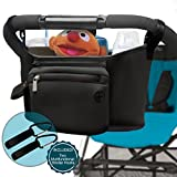 Premium Baby Stroller Organizer with Two Multifunctional Stroller Hooks for Parents On the Go (Black)